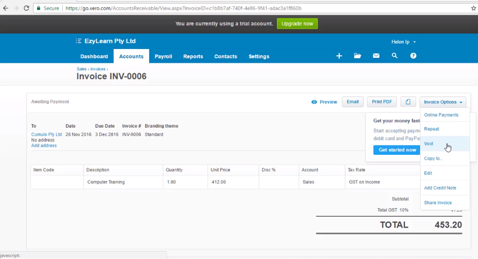 How to Void an Invoice -Free Xero Training Video Tutorial