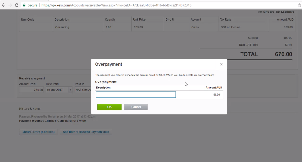 Process an Overpayment - Free Xero Training Video Tutorial