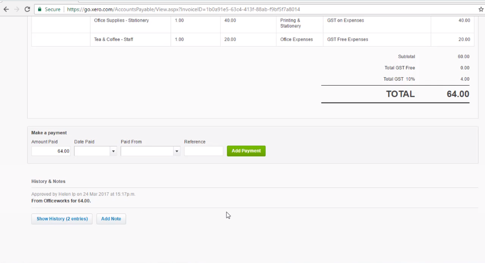 Enter a Supplier Payment - Free Xero Training Video Tutorial
