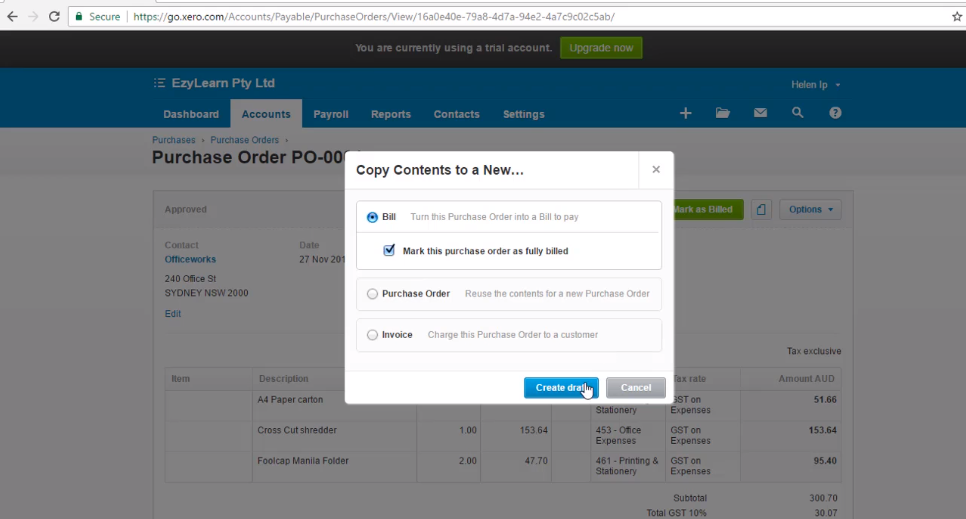 Create a Bill from a Purchase Order - Free Xero Training Video Tutorial