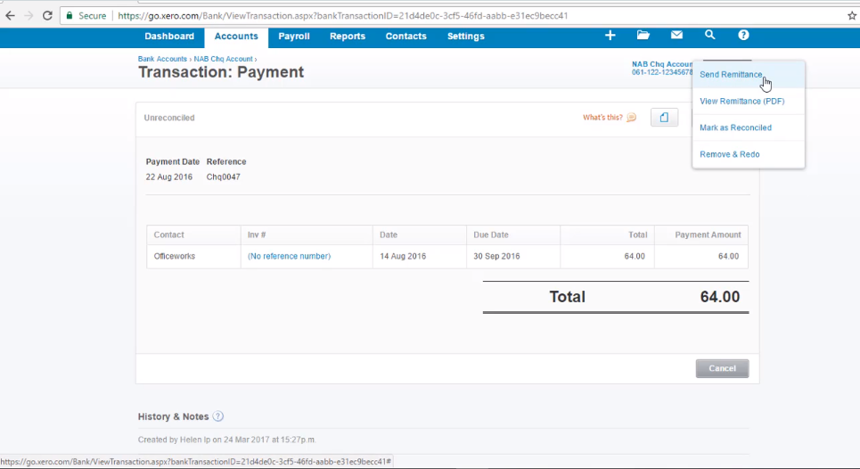 How to Send a Remittance - Free Xero Training Video Tutorial