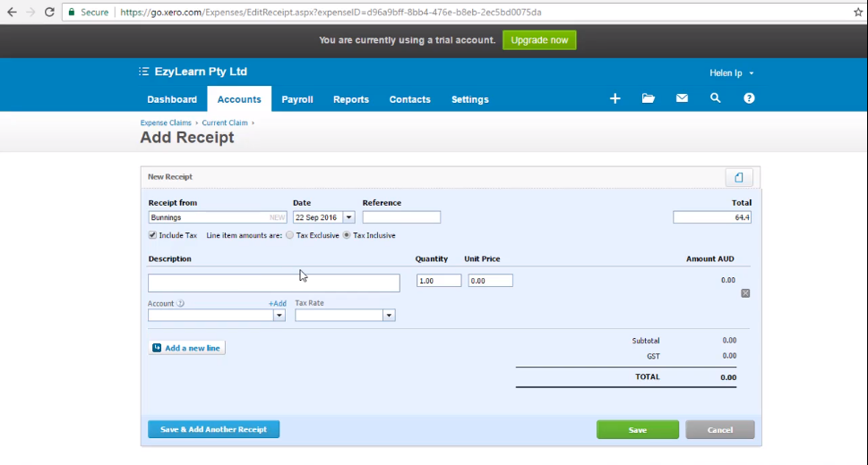 """Add, Edit and Delete Receipts to Expense Claims - """"Free Xero Training Video Tutorial"""