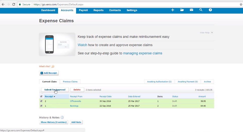 Submit an Expense Claim for Approval - Free Xero Training Video Tutorial