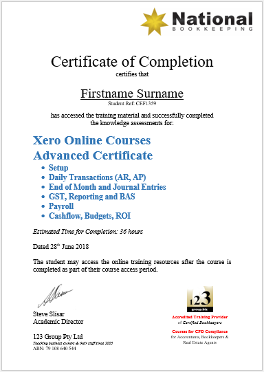 National Bookkeeping Beginners to Advanced Certificate in Xero, MYOB, QuickBooks Online Training Courses